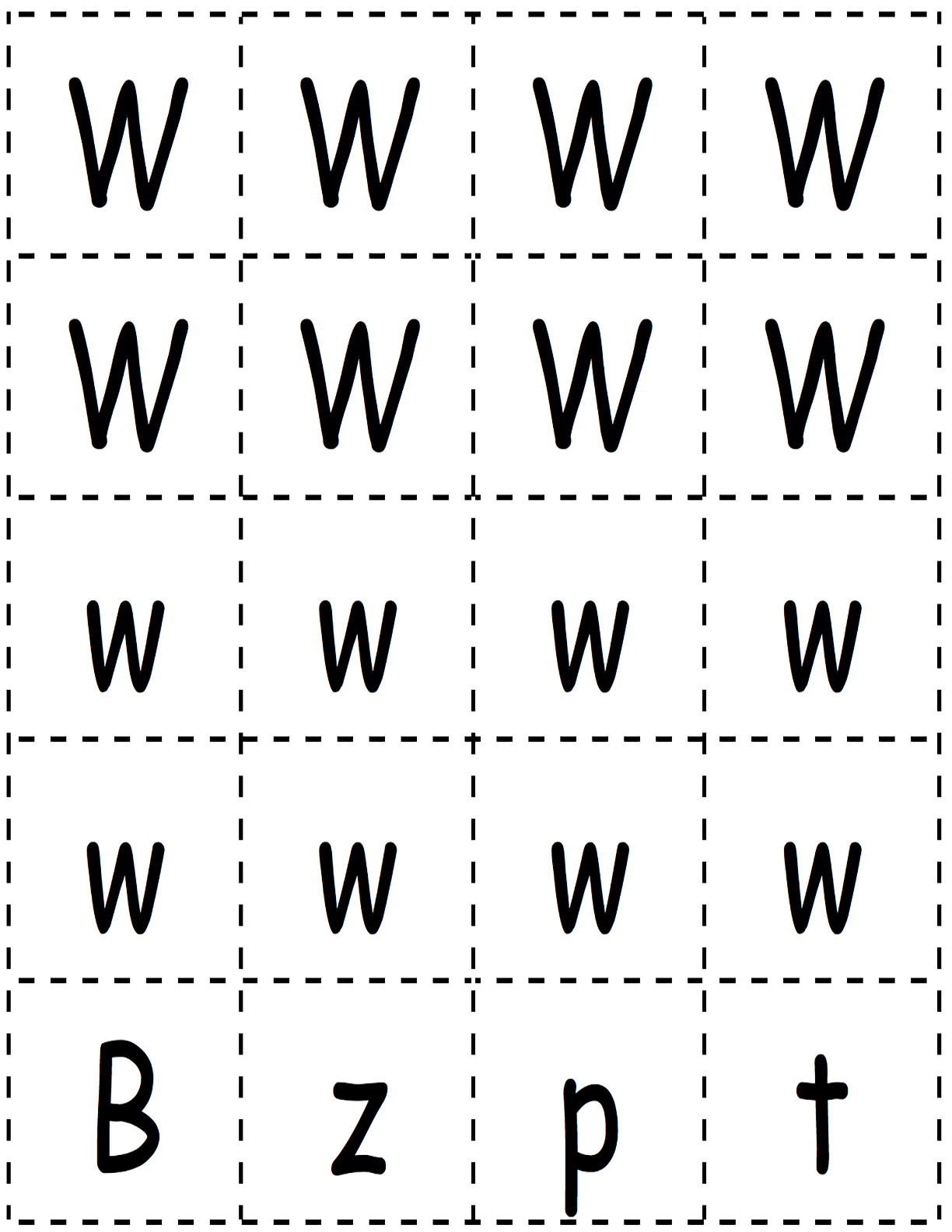 W Letter Cards