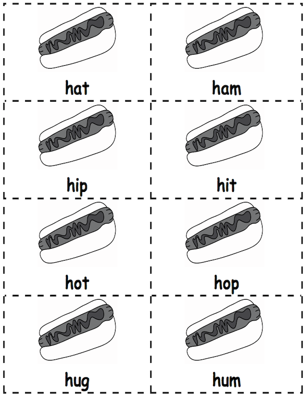 Hotdog Word Cards