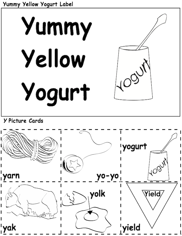Yummy Yellow Yogurt Label and Y Picture Cards