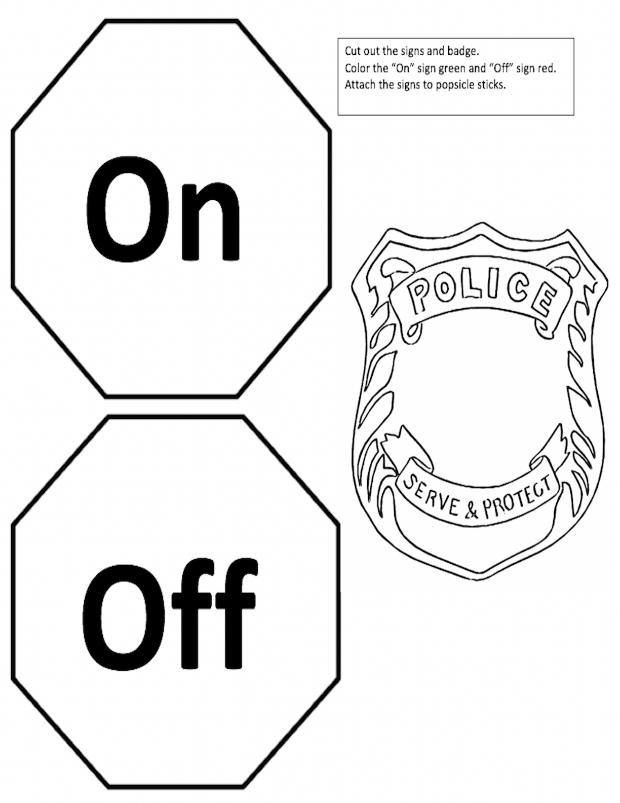 On and Off Signs and Badge Graphic