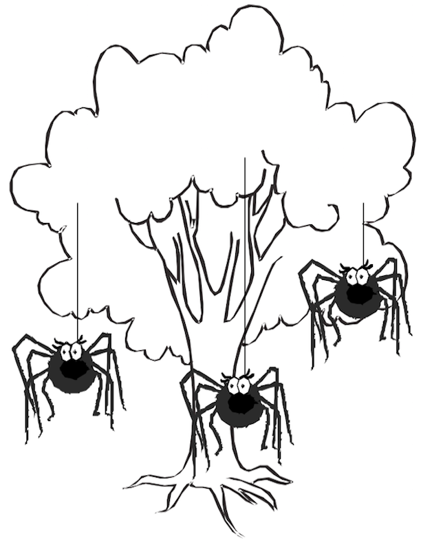 Tree with Tarantulas Picture Card