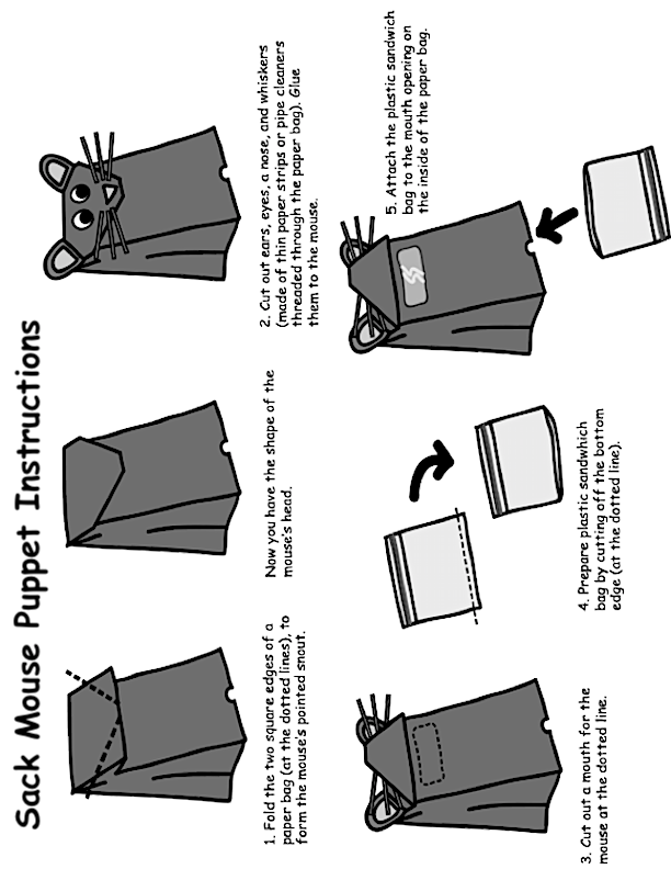 Sack Mouse Puppet Instructions