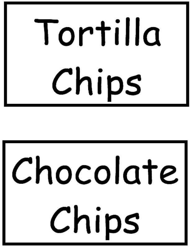 Tortilla Chips and Chocolate Chips Signs