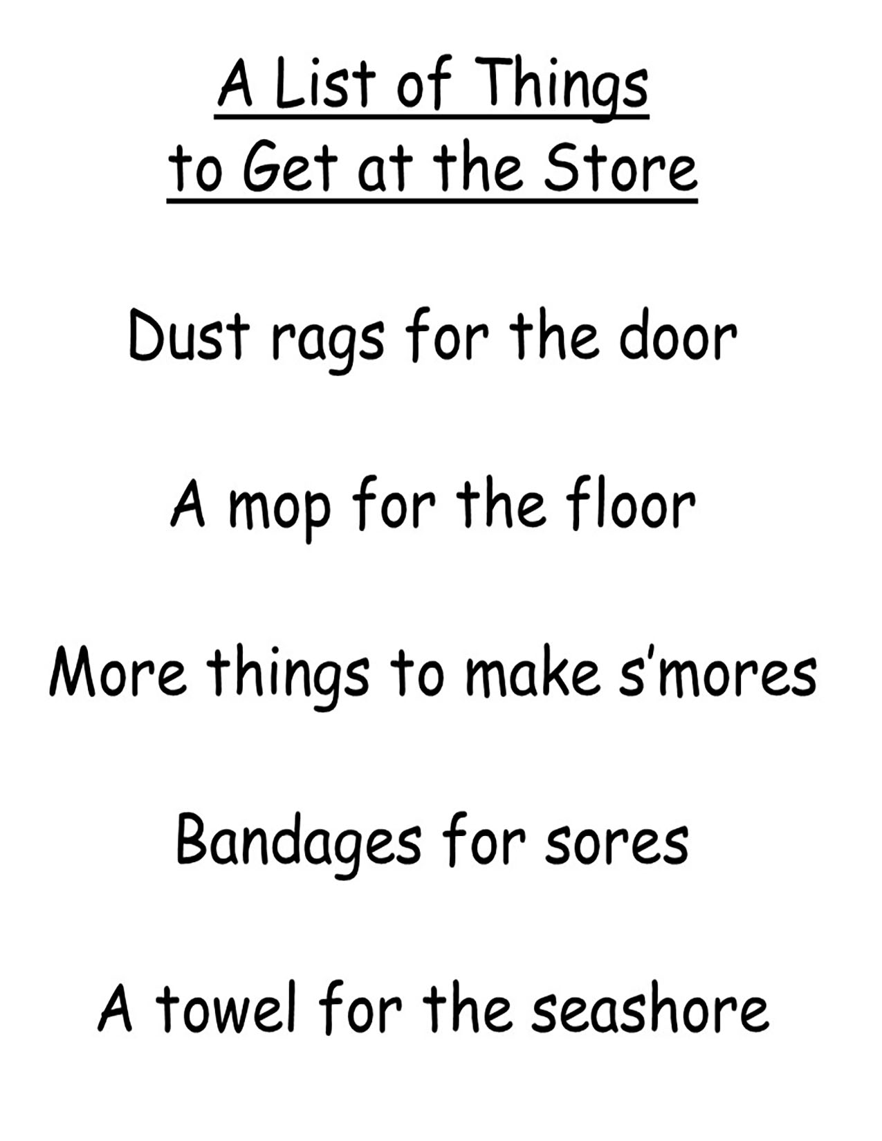 list of things to get at the store