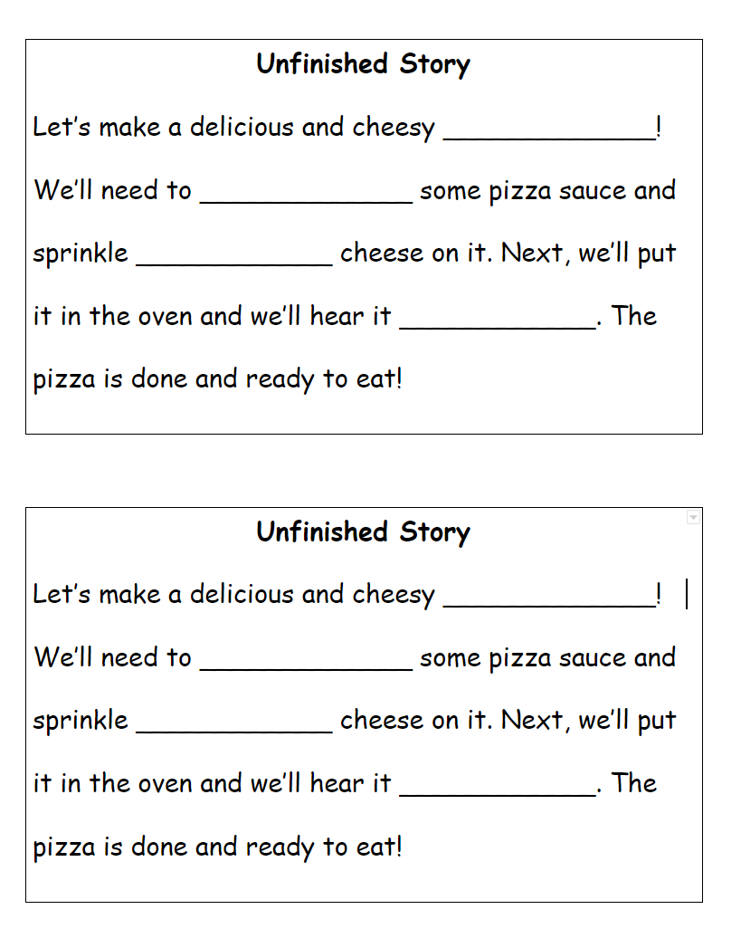 Unfinished Story handout