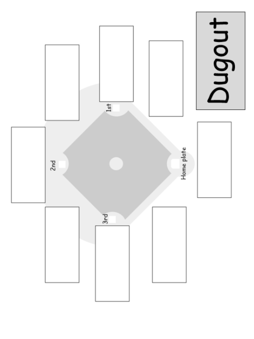 Baseball field activity sheet with spaces to write -ou words