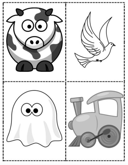 Picture of a cow, ghost, dove, and train