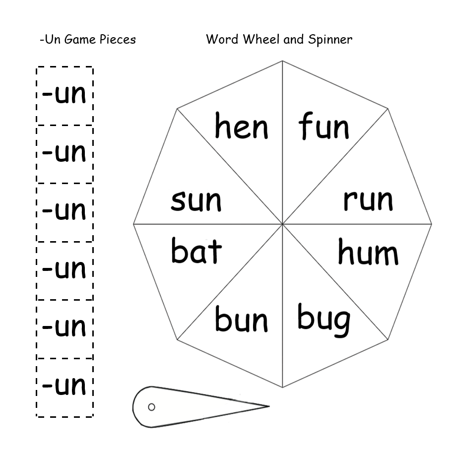 Spinner, word wheel, and -un game pieces