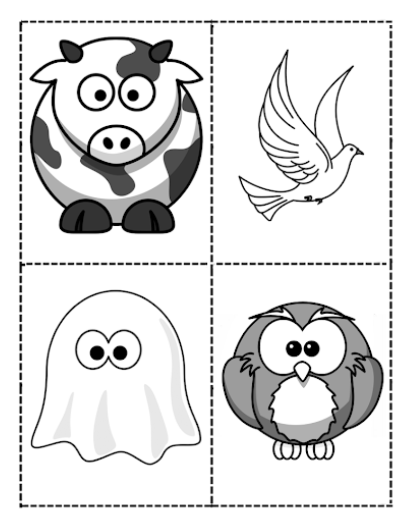 Cow, ghost, dove, and owl pictures