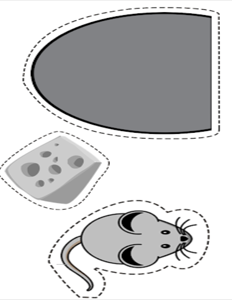 Picture of mouse & cheese and the mouse hole cutout