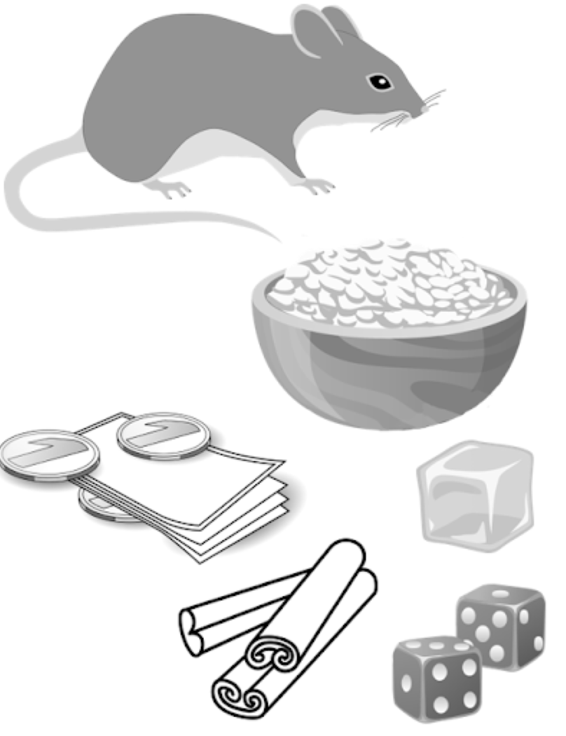 A mouse, two dice, an ice cube, money, and cinnamon sticks