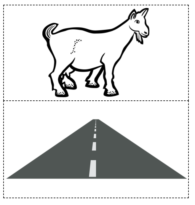 A goat and a road