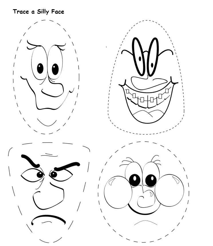 Trace a Silly Face page
