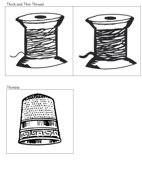Thick and thin thread & a thimble