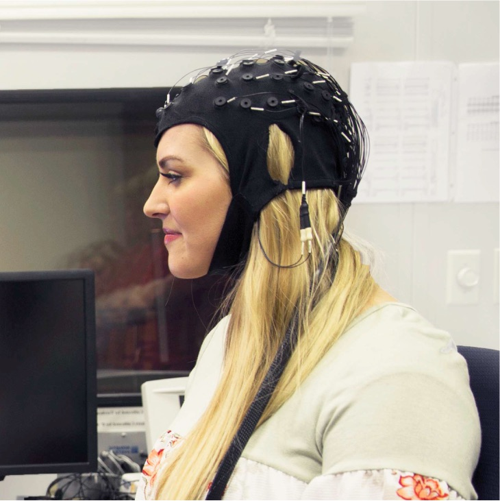 Girl wearing brain scanner