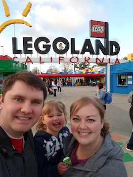 Kory and Melissa Crockett with their daughter on a family vacation to Legoland.