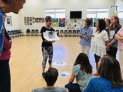 Emerita dance professor Marilyn Berrett transformed a fourth-grade lesson on cloud formations into an opportunity to explore the weather through dance. Photo by Emma Smith.