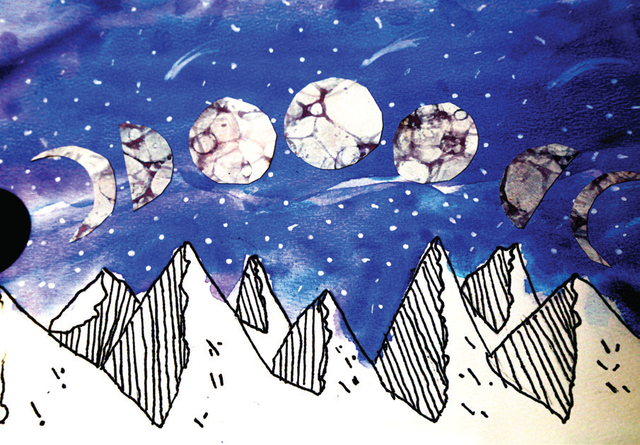Moon phases over a mountain range