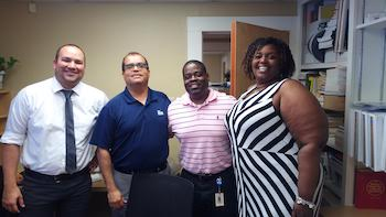 Kirt Davis visits administrators for the San Antonio Independent School District in San Antonio, Texas during his internship with Aldine School District.