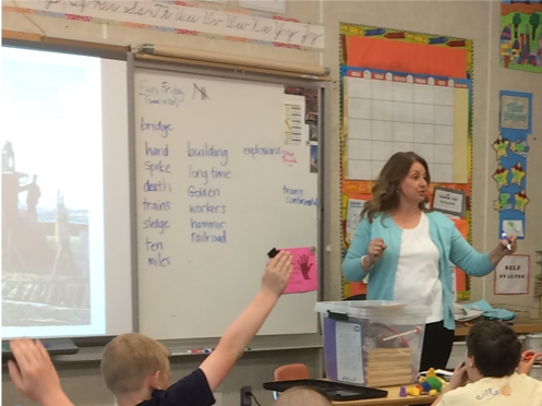 Teacher with student raising hand teaching words