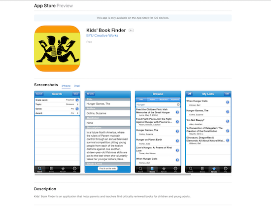 Screen shot of the Kids' Book Finder app in the app store