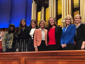 Liz Darger with the other six members of the Young Women General Board for Women's Session of the October 2018 General Conference. Photo taken by Sister Becky Craven.  Names (left to right): Carol Costley, Liz Darger, Vicki Jackman, Shelby Killpack, Lori Newbold, Shauna Ogden, Amy Wright
