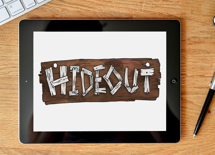 iPad running the Hideout app