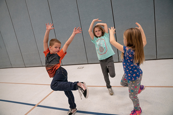 Students dancing in zero gravity
