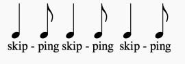 three sets of a quarter note and then an eighth note