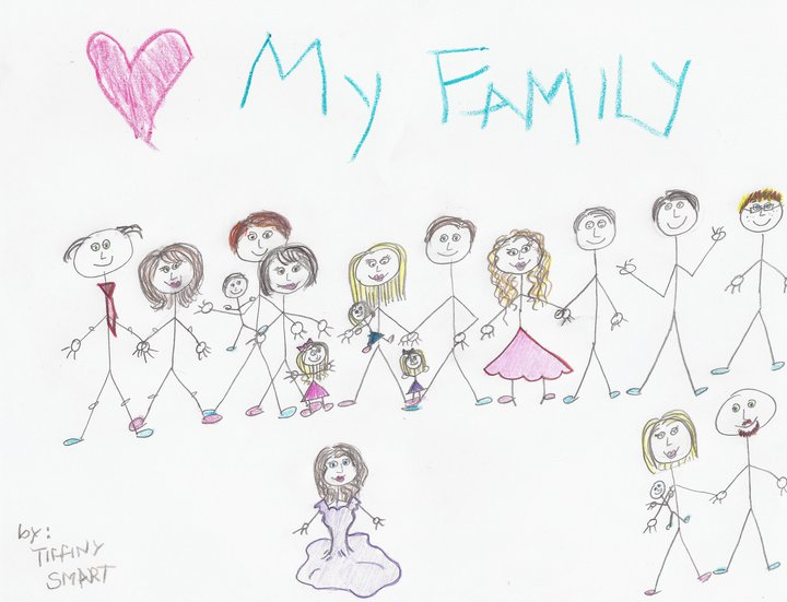Mary's favorite family picture, as drawn by her daughter Tiffany.